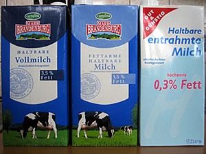 Cartones de leche entera, semidesnatada y desnatada (alemanes)