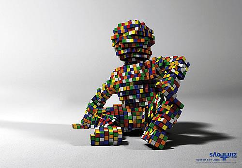 Publicidad de Hospital con cubos de Rubik