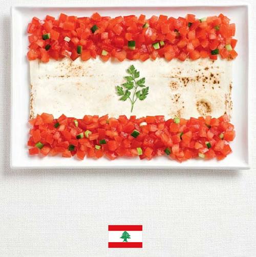 Bandera de L�bano con alimentos - Sydney Food Festival