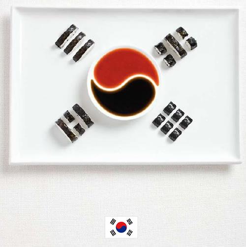 Bandera de Korea del Sur con alimentos - Sydney Food Festival
