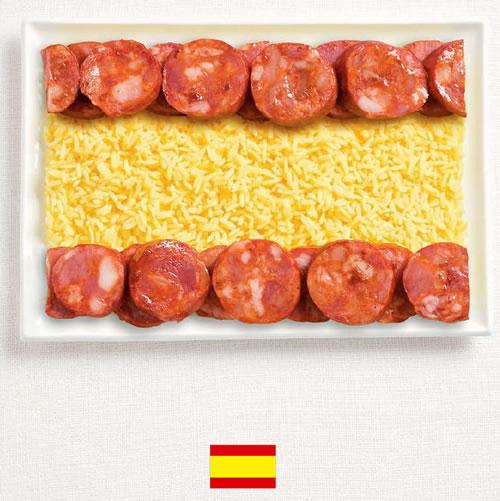 Bandera de Espa�a con alimentos - Sydney Food Festival