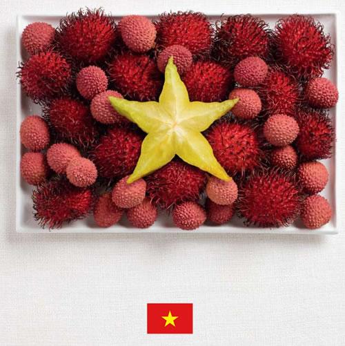 Bandera de Vietnam con alimentos - Sydney Food Festival