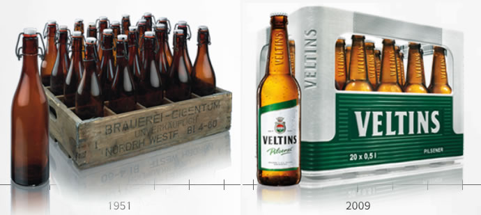 Cajas de cerveza de Veltins (1951-2009)