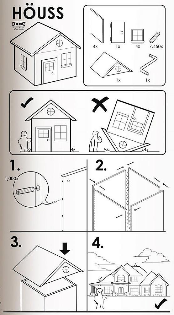 Instrucciones para armar una casa - Estilo Ikea