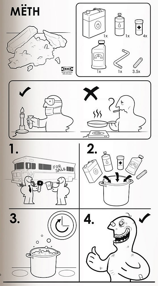 Instrucciones para armar anfetamina - Estilo Ikea