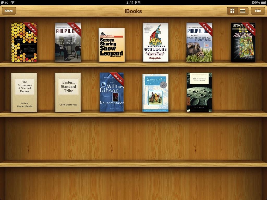 Antigua librería de la app iBooks para iPad