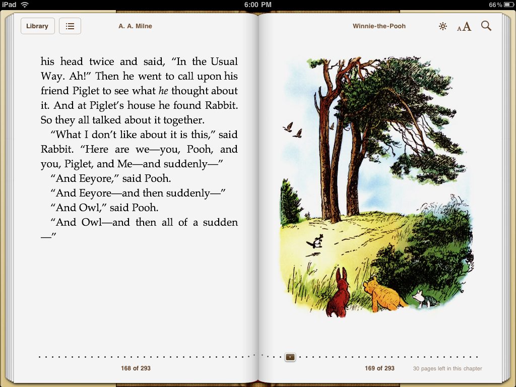 Extracto del e-book Winnie the Pooh para iPad