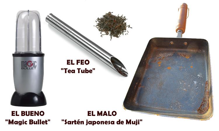 Magic Bullet (el bueno), Tea Tube (el feo), sartén japonesa de Muji (el malo)